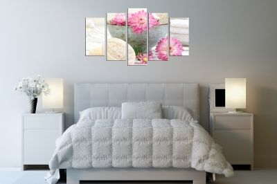 Canvas wall art set with pink flowers for bedroom