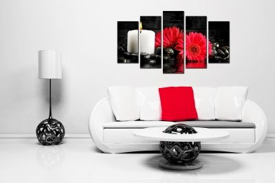 Canvas wall art set with red flowers for bedroom