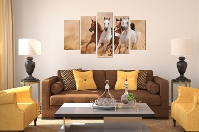 Wall art panels decoration 5 pices Horses