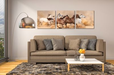 Wall art decoration wild horses