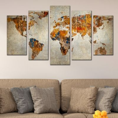 0334 Wall art decoration (set of 5 pieces) Old world map