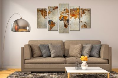 Wall art panels decoration 5 pices World map