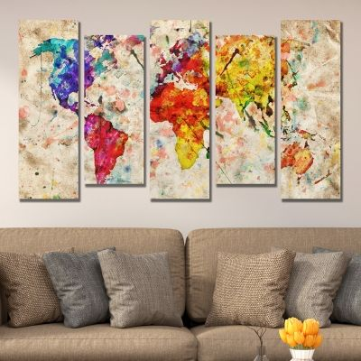 0335 Wall art decoration (set of 5 pieces) Abstract world map