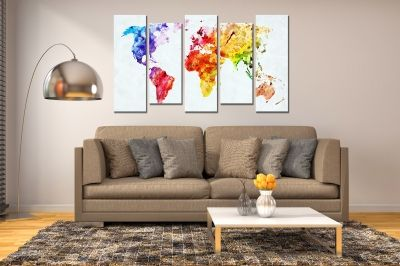 Wall art panels decoration 5 pices map