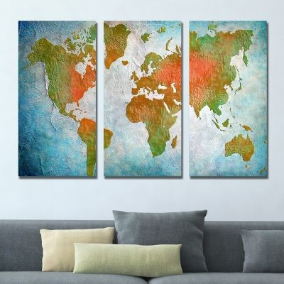 0338 Wall art decoration (set of 3 pieces) World map