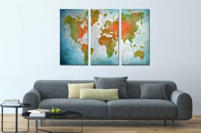 Canvas wset of 3 pieces world map
