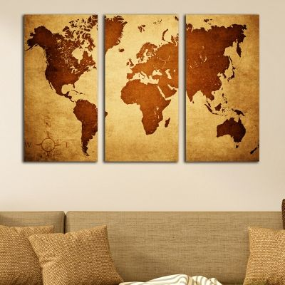 0339 Wall art decoration (set of 3 pieces) World map in brown