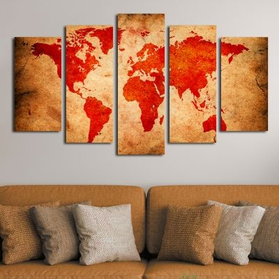 Modern abstract wall decoration set with ancient map