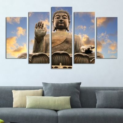 0343 Wall art decoration (set of 5 pieces) Buddha