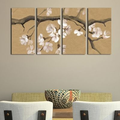 0115 Wall art decoration (set of 4 pieces) Blooming branch