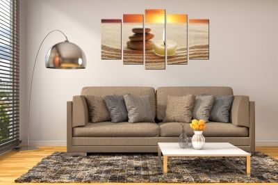 Wall art panels for decoration 5 pices zen sunset