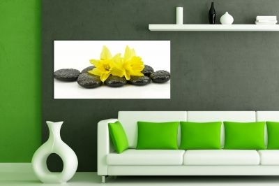 Yellow, white and black wall art decoration