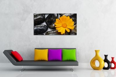 Orange and black zen  wall art decoration