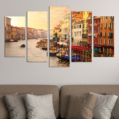 Canvas wall art set city landscape Venece