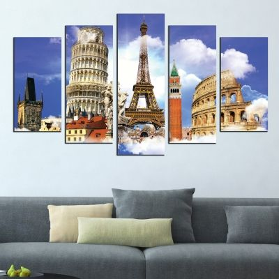0367 Wall art decoration (set of 5 pieces) European symbols