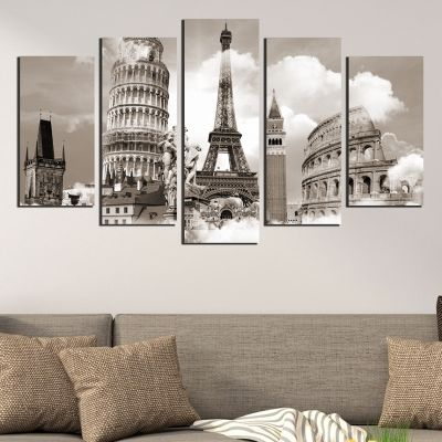 0368 Wall art decoration (set of 5 pieces) European symbols
