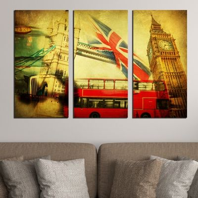 0374 Wall art decoration (set of 3 pieces)  London