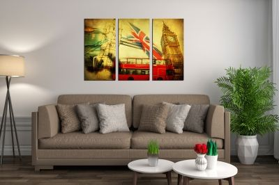 Wall art set of 3 pieces London vintage