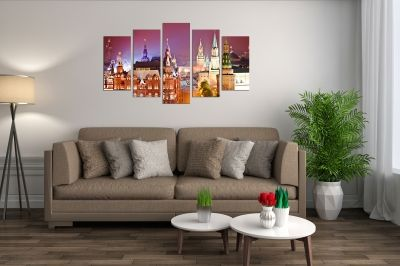 Wall art set 5 pieces Moscow at night