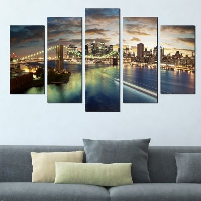 0381 Wall art decoration (set of 5 pieces) New York