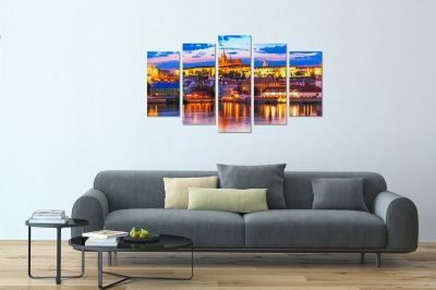 Wall art set Prague cityscape