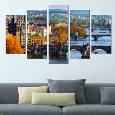 0387 Wall art decoration (set of 5 pieces) Prague cityscape