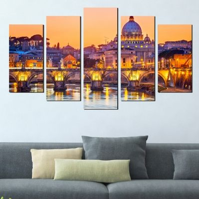 0388 Wall art decoration (set of 5 pieces) Rome cityscape