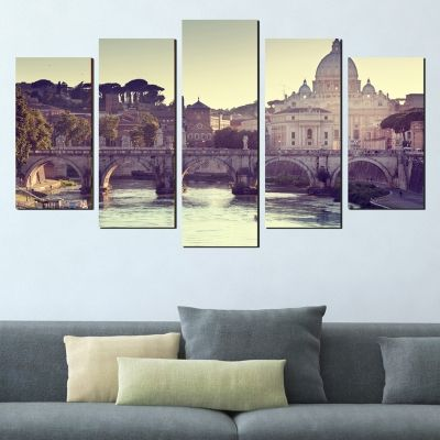 0389 Wall art decoration (set of 5 pieces) Rome cityscape