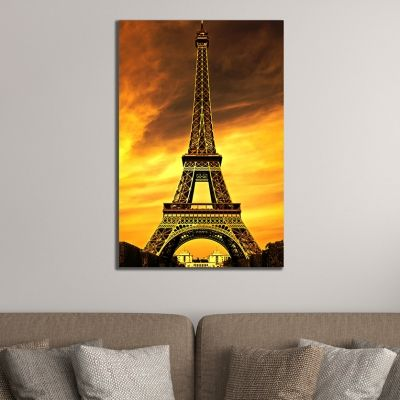 Wall art decoration cityscape Paris brown