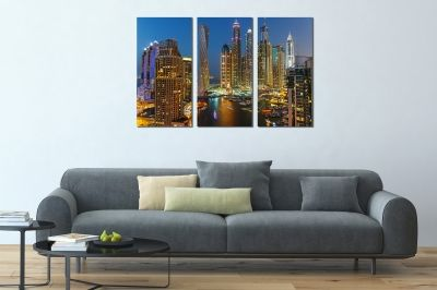 Wall art set of 3 pieces Dubai night