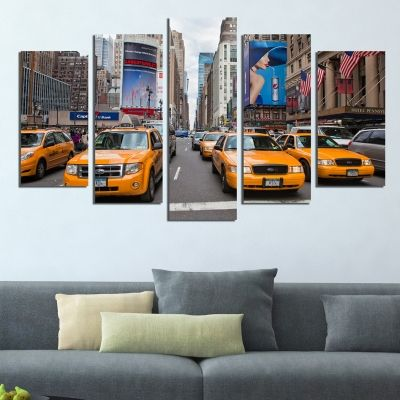 0405 Wall art decoration (set of 5 pieces) New York yellow cabs