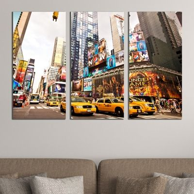0406 Wall art decoration (set of 3 pieces) New York cabs