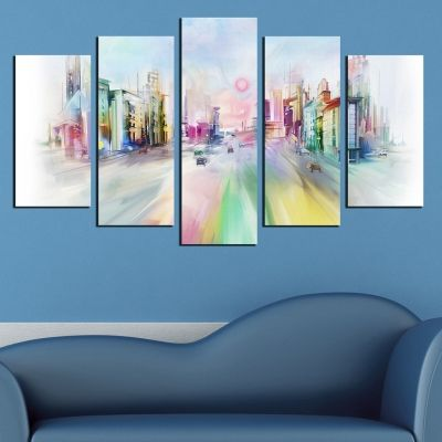 0410 Wall art decoration (set of 5 pieces) Colorful city