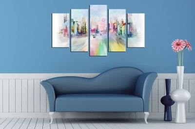 Wall art set 5 pieces colorful city abstract