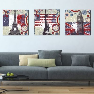 0412 Wall art decoration (set of 3 pieces) Paris - New York - London