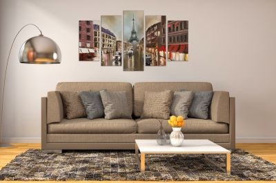 Wall art set Paris cityscape 5 pieces