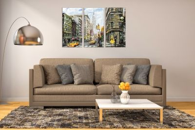 Wall art canvas set of 3 pieces New York painting