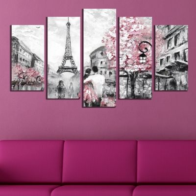 0416 Wall art decoration (set of 5 pieces) Lovers in Paris