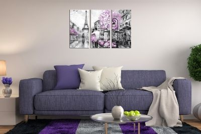 Wall art canvas set of 3 pieces for bedroom Paris