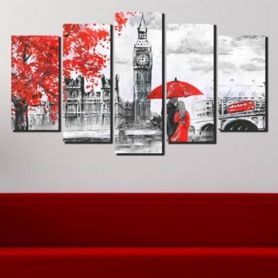 Bedroom canvas art set 5 pieces Lovers in London