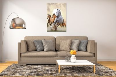 Canvas wall art Horses - brown and white