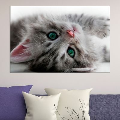 Wall art decoration sweet cat in grey