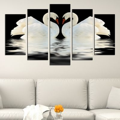 0430 Wall art decoration (set of 5 pieces) Swans in love (black and white)