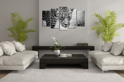wall art decoration set Jaguar in black and white
