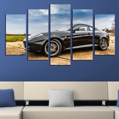 0437 Wall art decoration (set of 5 pieces) Blck car