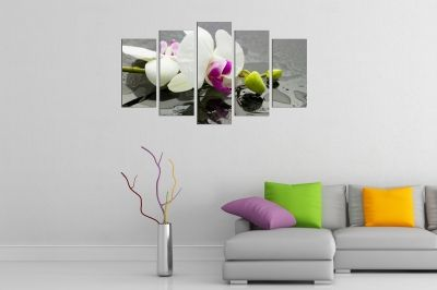 Zen canvas art with white orchid on grey background