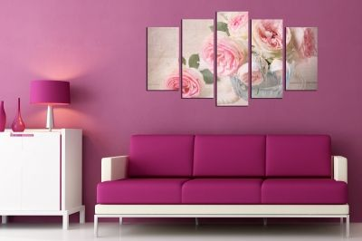 Zen canvas art with vintage roses