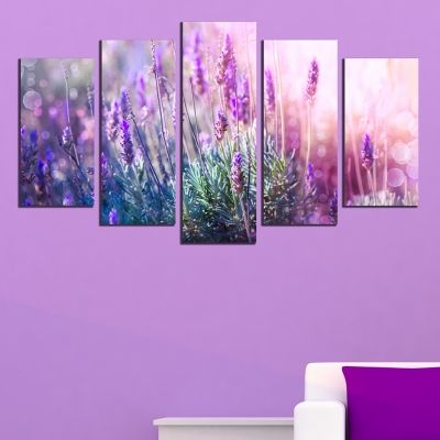 wall art canvas decoration set with levander
