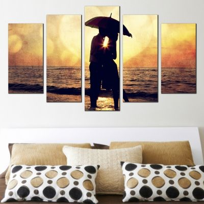 Wall art decoration set with couple in love at sunset