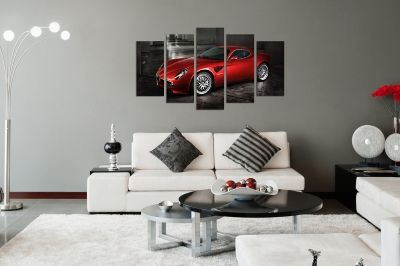 Art canvas decoration for wall with red car